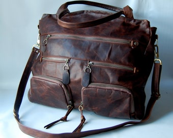 NEW AW13 Shikotsu luggage bag in walnut wood brown