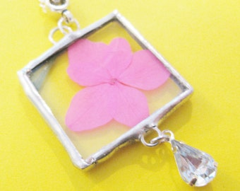 pink flower necklace - hydrangea necklace - silver necklace -  real flower necklace - pressed flower jewelry - crystal necklace