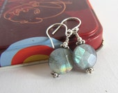 Sterling Silver Labradorite Earrings: Dangle wire wrapped Faceted Coins with daisy spacers