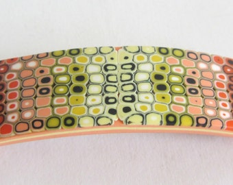 Orange Barrette - Yellow Barrette - Red Barrette - Polymer Clay Barrette - Retro Barrette -  Orange Red Yellow - Fimo Barrette