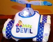 Boy/Girl/Neutral Quad Runner 4 Wheeler Diaper Cake with Working Headlight