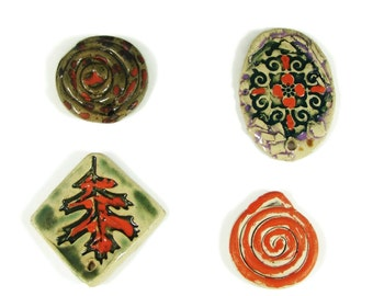 Focal Bead Pendants - SALE - 4 for the price of 1  - Trimmed in Orange Luster - Handmade Ceramic Clay Stoneware Pottery - Ready to Ship