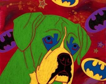 Boxer Dog Art - Neo Pop Art - Batman Design - Dog Pop Art - by dogpopart