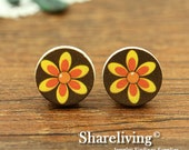 Buy 1 Get 1 Free - Flower Wood Cabochon, Wooden Button, 12mm 15mm 20mm Round Handmade Photo Wood Cut Cabochon   -- HWC015E