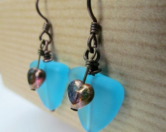 SALE Copper Heart and Triangle Shaped Aqua Sea Glass Beaded Niobium Earrings