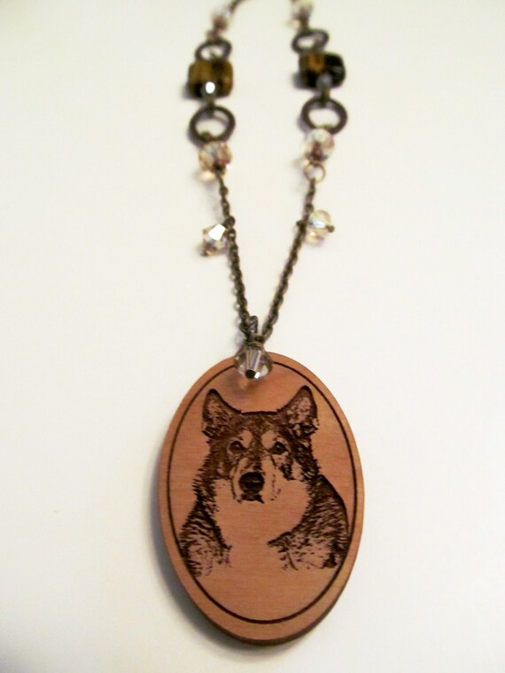 custom wooden pendant beaded necklace made to order by