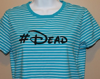 hashtag DEAD blue striped top