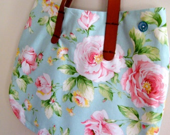 French Inspired Blue  and Pink Flowers  Handmade Bag Boho Style