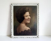 Vintage Portrait Photography 1960s Colored Photo Brunette Woman White Metal Frame Hand Tinted Wall Hanging Hollywood Regency Mid Century Art