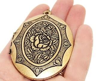 Deluxe Rose Floral Gold Locket - Large Oval Locket Necklace with Ornate Rose Design