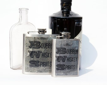 HIP FLASK , Bourbon Whisky Spirits 6oz Flask, Whisky Flask