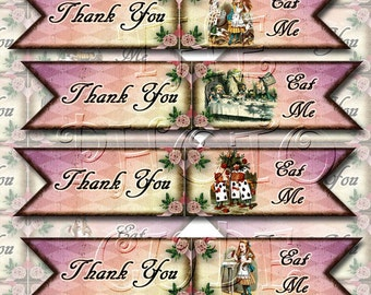 Eat Me/Thank You-Tags/Labels/Flags-Whimsical Alice In Wonderland-CHaRMiNG Printable Collage Sheet JPG Digital File- NeW LoWER PRiCE
