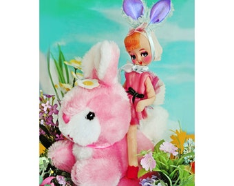 bunny doll print aceo size easter decor BUNNY RIDE