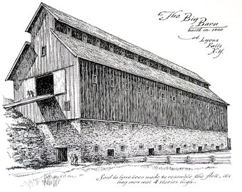 The Big Barn Built in 1860 - 1967 Vintage Print - Black and White - 9 x 11