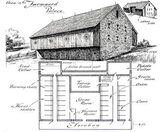 Farmyard Barn, Barn Floor Plan - 1967 Vintage Print - Black and White - 9 x 11
