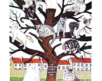 Cat Print - Cat Kingdom - 1985 Vintage Book Page - 9 x 12