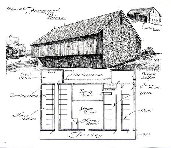 Farmyard Barn Barn Floor Plan 1967 Vintage Print Black