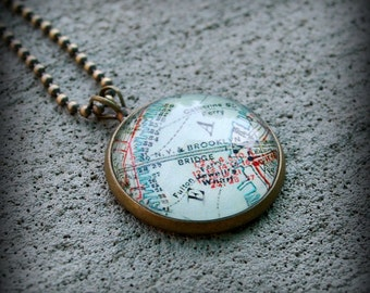 Brooklyn Bridge Map Necklace