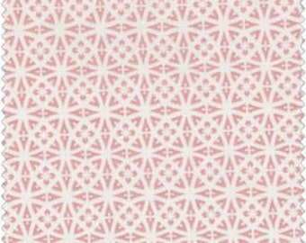 """REMNANT 32""""X43"""" Lacy Medallion in Pink and White ~ Maywood Studio Cottage Romance 2142-pw cotton fabric"""