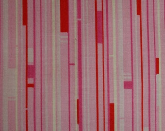 Mod Pink White Striped Nicey Jane Welcome Road hb19-pink mod pink and white stripe cotton fabric by the yard