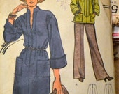 Vintage 1970s Sewing Pattern Vogue 9074 Misses' Dress Tunic Pants  Bust 34 inches Complete