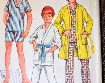 Vintage Sewing Pattern McCall's 3041 Boy's Pajama and Robe Size 8 Chest 27 inches Complete