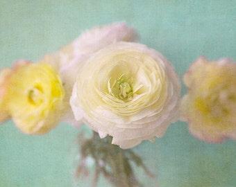Ranunculus Print,  Flower Photo, Floral Art Print, Yellow Mint Wall Decor, Nature Photography, Bedroom Decor, Nursery Decor