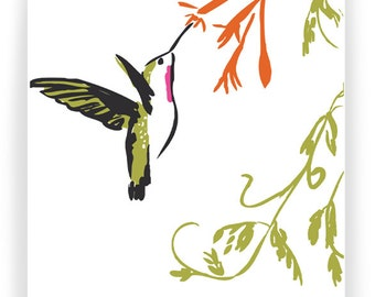 Hummingbird and Honeysuckle:  Boxed Set of 8 Greeting Cards