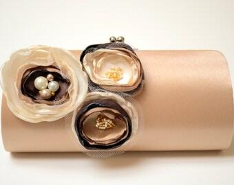 Latte Dark Champagne Clutch - Bridal Clutch - Bridesmaid Clutch - Bouquet Clutch - Chocolate Brown Ivory Vanilla Champagne Flowers & Pearls