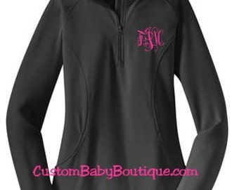 HALF ZIP Ladies Pullover - Sport Wicking Material, spandex and nice fleece inside, warm!