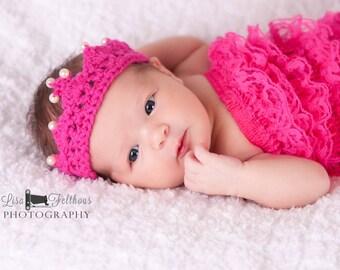 Baby girl tiara, Crochet baby crown, Little girl crochet tiara,  newborn photo prop , little girl hair accessories,  Baby girl crochet crown