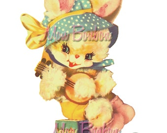 Cute Retro Bunny Banjo Clip Art Illustration .PnG and .JPG - DiY Printable Image Transfer - INSTANT DOWNLOAD