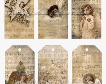 Vintage Christmas Angels Gift Tags Sheet - DIY You Print - INSTANT DOWNLOAD