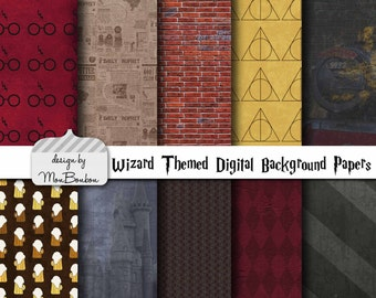 Harry Potter Themed Digital Scrapbooking Background Papers - 12x12 300 ppi - DiY - INSTANT DOWNLOAD