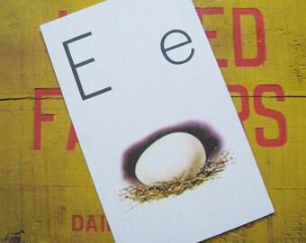Vintage Large Flash Card - E is for Egg - Great Illustration - 1958