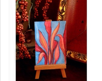 Original collectible mini art is perfect on shelf or in journal.