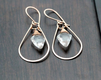 Crystal Quartz Hoop Earrings, 14k Gold Filled Arrowhead Gemstone, Tribal Fashion - Arrow