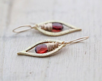 Garnet Dangle Earrings , Gold January Birthstone Drops , Leaf Drop Earrings , Dainty Modern Fashion - Dew (As Seen On The Vampire Diaries)