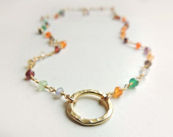 Amalfi Necklace with Mixed Semi Precious Stones Layering Gold Necklace