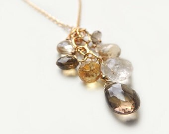 Fiesta Necklace with Smoky Topaz Rutilated Quartz Champagne Quartz on Gold Filled Chain Luxe Handmade Jewelry