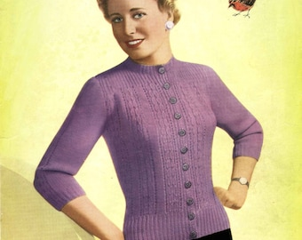 Vintage Ladies Cardigan (with tree-quarter or long sleves) Knitting Pattern, 1950 (PDF) Pattern, Robin 474