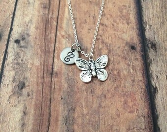 Butterfly initial necklace - butterfly jewelry, silver butterfly necklace, insect necklace, monarch butterfly necklace, nature jewelry