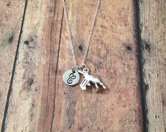 Glue gun initial necklace - glue gun jewelry, gift for crafter, art teacher necklace, crafter jewelry, gift for art teacher, art necklace