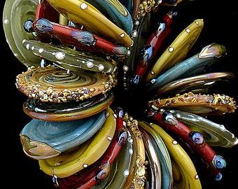 DSG Beads Handmade Organic Lampwork Glass - Made To Order Discs (Oktoberfest)
