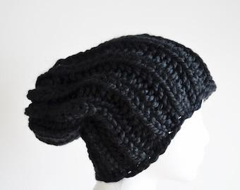 Ink Black Hat, Chunky Knit Hat, Navigator Hat, Women's Fashion Knit Hat