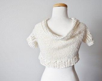 Button Bolero Bridal Jacket - Short Sleeved Cream Cotton, Merino, Tencel Bridal Shrug, Lacy Trim, Vintage Buttons. Cropped Cardigan Sweater