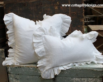 "Linen Pillow with 4"" Ruffle"