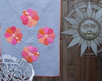 Flower Power - Modern Baby Quilt in Pink & Orange Designer Fabrics
