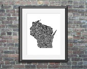 Wisconsin typography map art print 8x10 customizable personalized state poster custom wall decor engagement wedding housewarming gift