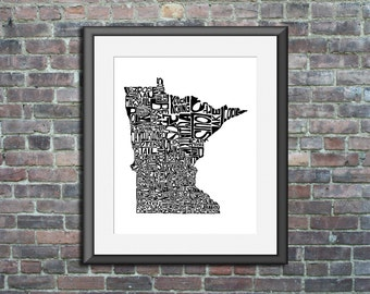 Minnesota typography map art print 11x14 customizable personalized state poster custom wall decor engagement wedding housewarming gift